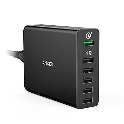Sạc tường Anker PowerPort+ 6 with Quick Charge 2.0 US Black A2062111