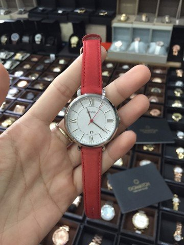 Fossil ACQUELINE Steel Date Case Red Leather Strap Watch
