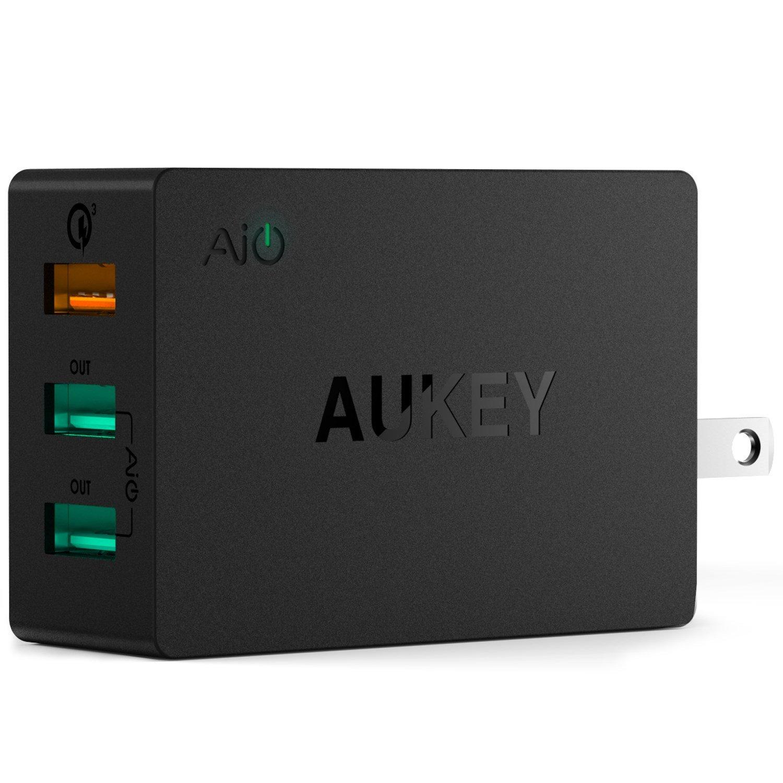 Sạc điện thoại Aukey PA-T14 ( 3 cổng USB 43.5W), 1x Quick Charge 3.0, 2x AiPower