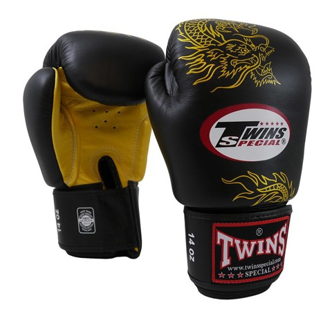 GĂNG TAY TWINS DRAGON PATTERN BOXING GLOVES - BLACK/GOLD