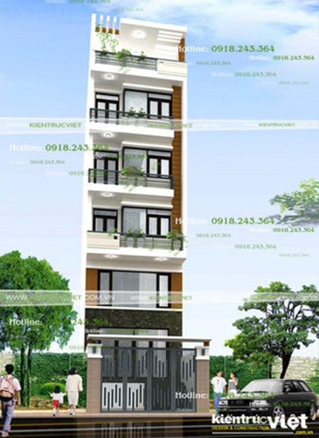 Thiết kế nhà có tầng hầm và thang máy, nhà 5m *30m