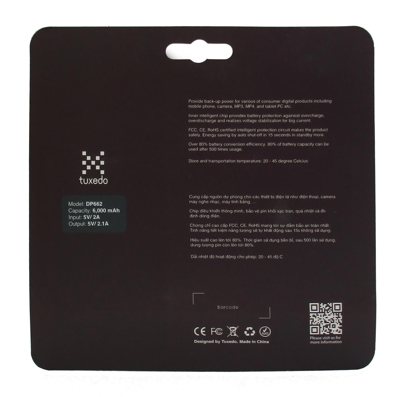 Pin sạc dự phòng Tuxedo DP662, 6000 mAh, công nghệ pin LiPo