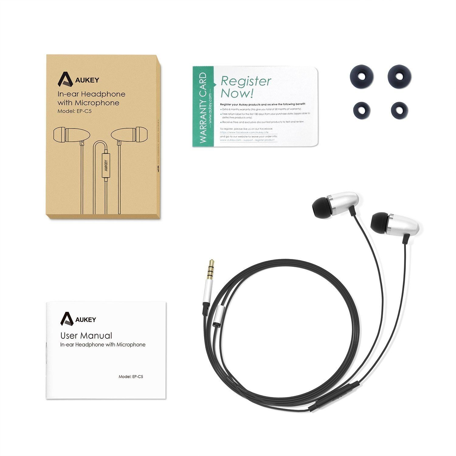 Tai nghe in-ear Aukey EP-C5, có mic cho IPhone, Samsung, Android Smartphones