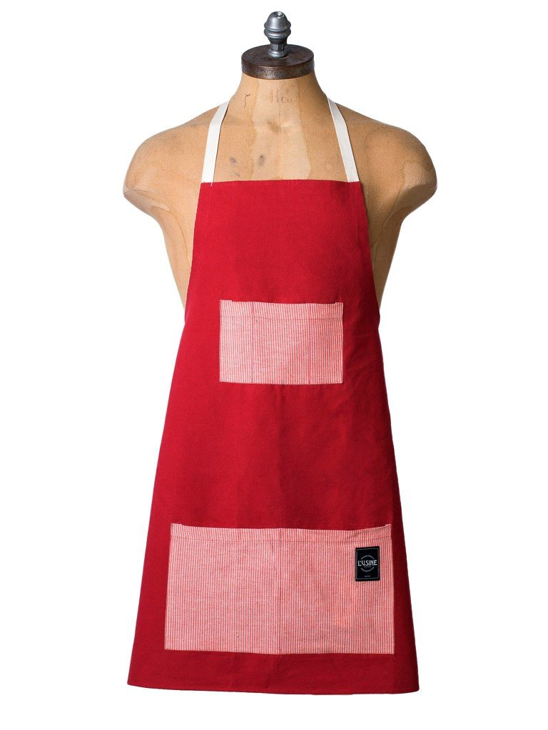 Canvas & Ticking Apron In Maroon