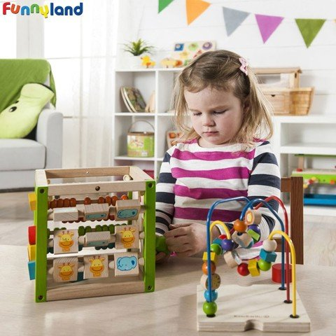 Hộp gỗ đa năng EverEarth My First Multi-Play Activity Cube