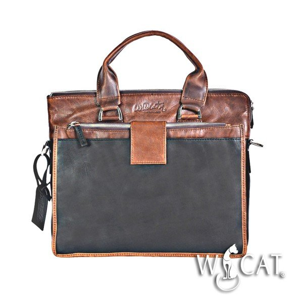 50122015 - 2 TONES ZIP CLOSURE LEATHER Laptop bag