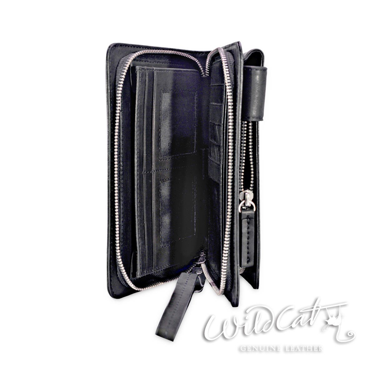 70062015 ZIP CLOSURE LEATHER UNI-SEX Wristlet