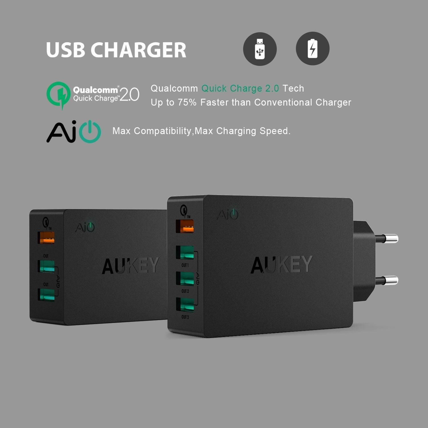Sạc nhanh Aukey PA-T2 quick charge 2.0