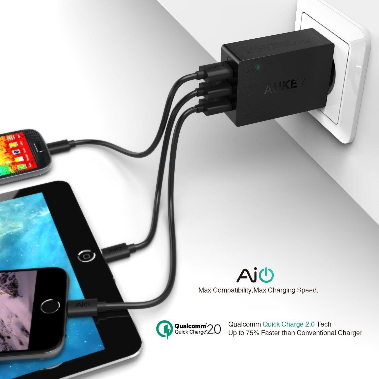 Sạc điện thoại Aukey PA-T2 (3 cổng USB 42W), 1x Quick Charge 2.0, 2x AiPower
