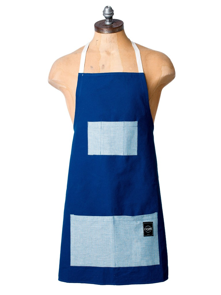 Canvas & Ticking Apron In Blue