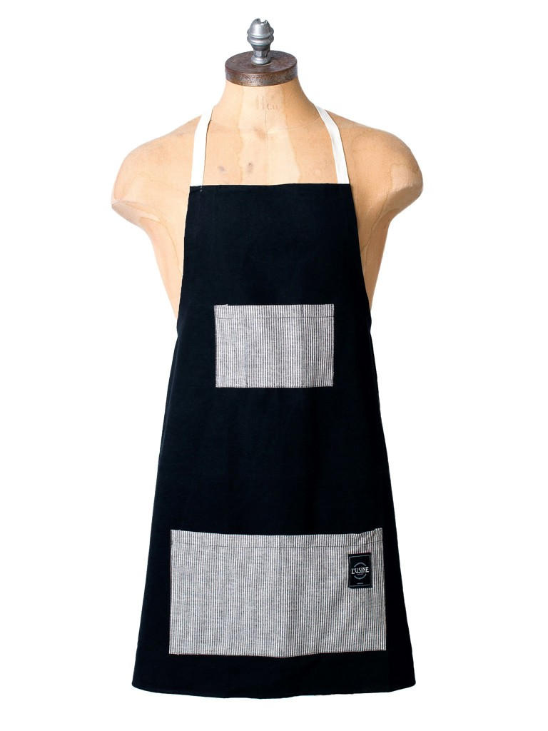 Canvas & Ticking Apron In Black