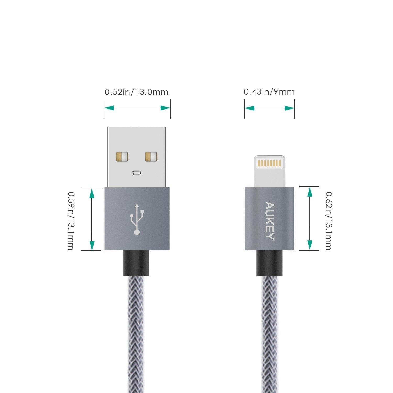 Cáp sạc điện thoại Aukey CB-D24 Lightning USB, bọc lưới, dài 1m, chuẩn MFI