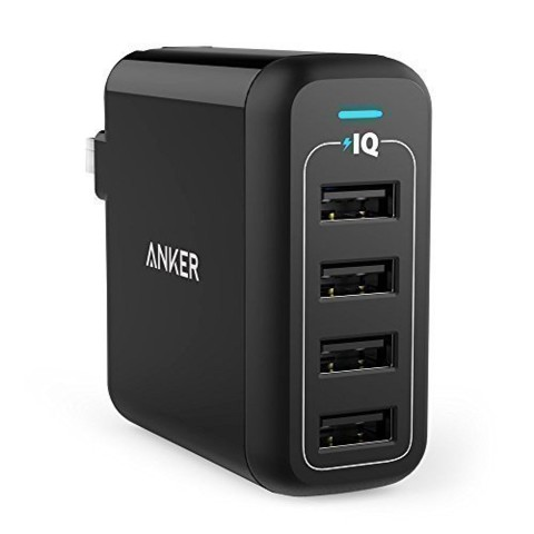 Sạc tường Anker 40W 4-Port Foldable Wall Charger for US (Black) A2142111