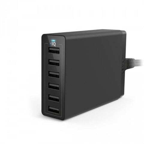 Sạc tường Anker 60W 6-Port Desktop Charger (Black) For EU A2123L11