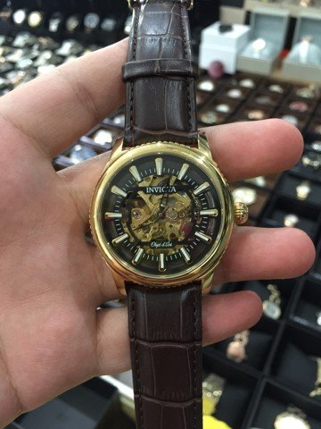 Invicta 22611 Men's Objet D Art Automatic Black & Gold Skeleton Dial Brown Leather Strap Watch