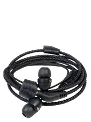 WRAPS PU Leather Braided Wristband Headphones WRAPSLBBLK  (S) BLACK