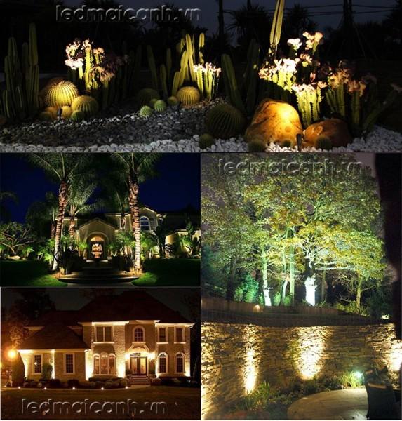 đèn cỏ 3w có mũ, đèn trang trí sân vườn