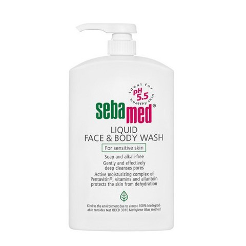 sua rua mat va tam toan than cho da nhay cam sebamed liquid face body wash 300ml