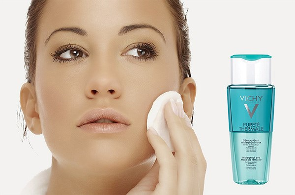 dau tay trang mat va moi vichy purete thermale waterproof eye make up remover