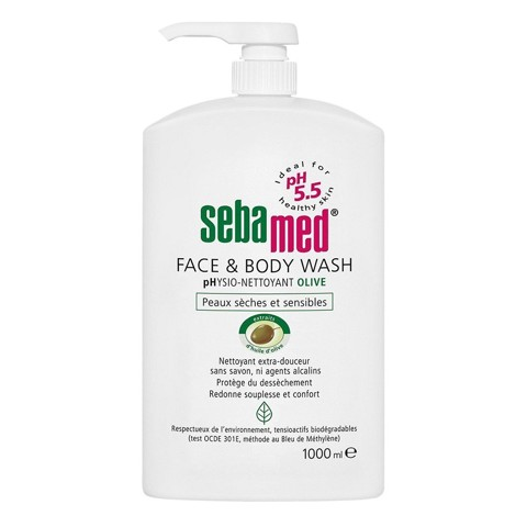 sua rua mat va tam toan than cho da nhay cam sebamed liquid face body wash 1000ml