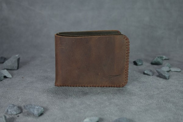 Ví da nam Mini Bifold Wallet Red Wood