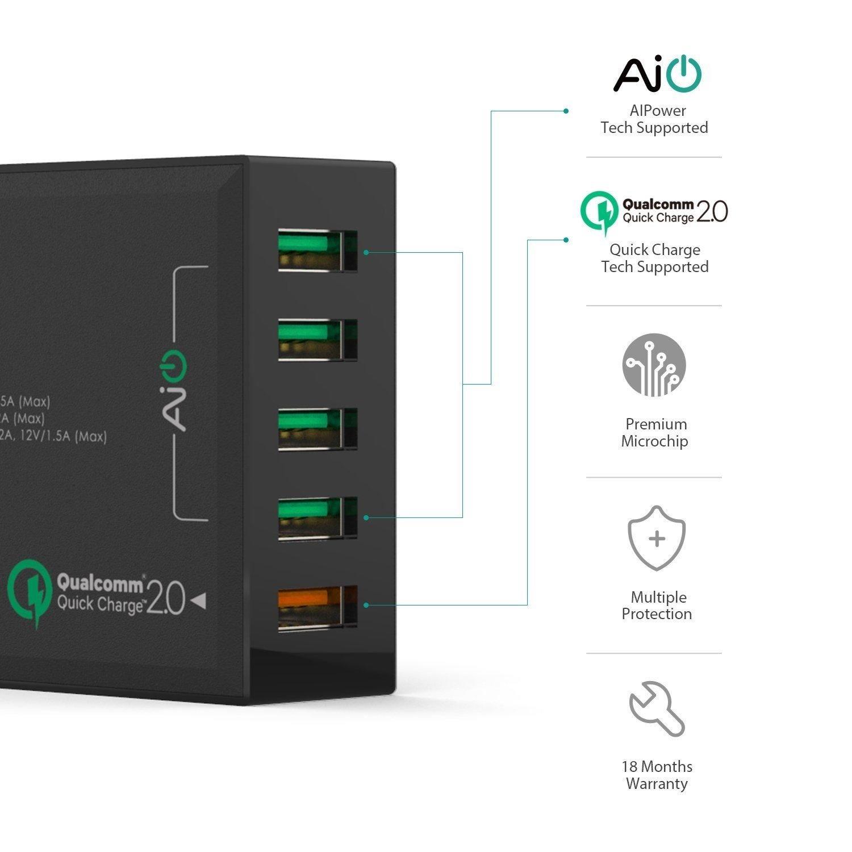Sạc điện thoại Aukey PA-T1 (5 cổng USB 54W), 1xQuick Charge 2.0, 4xAiPower