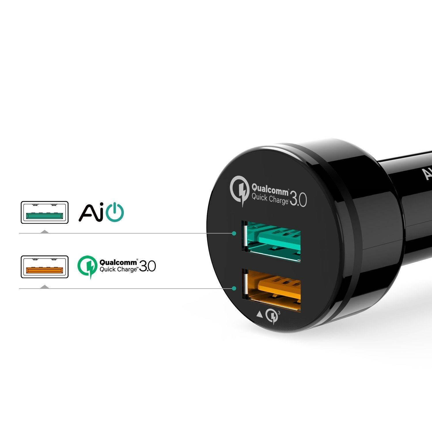 Sạc oto Aukey CC-T7 2 cổng 1x Quick Charge 3.0, 1x AiPower