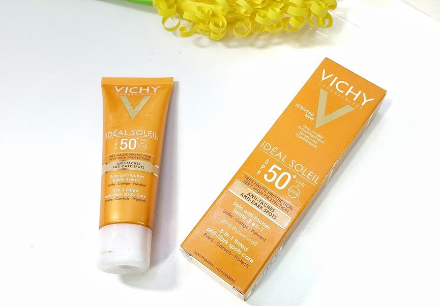 kem chong nang ngan ngua sam da vichy ideal soleil anti dark spot 3in1 des