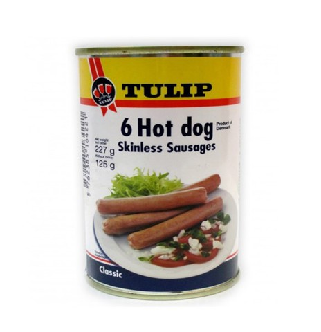 Xúc Xích Heo Tulip Pork Hot Dog Skinless Sausages 227g