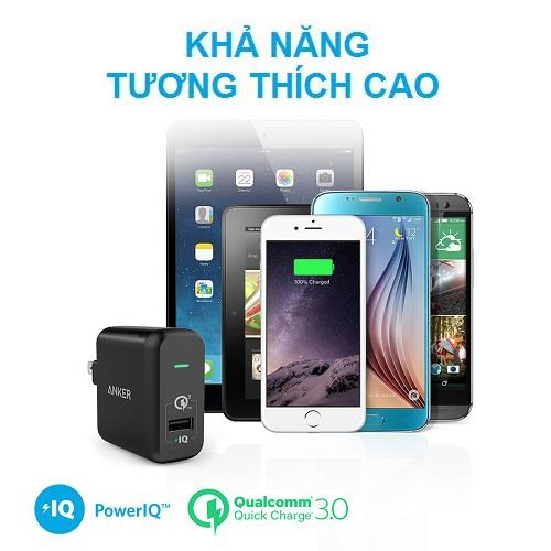 Sạc tường Anker PowerPort+ 1 with Quick Charge 3.0 US Black
