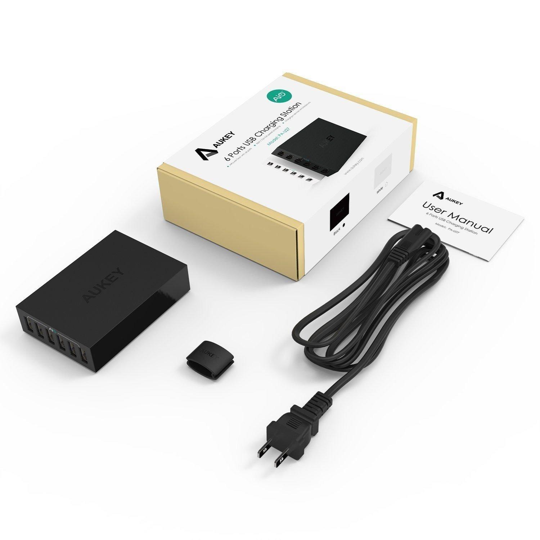 Sạc điện thoại Aukey PA-U14 ( 6 cổng USB 65W), 6x AiPower 6.5V/10A (Max)